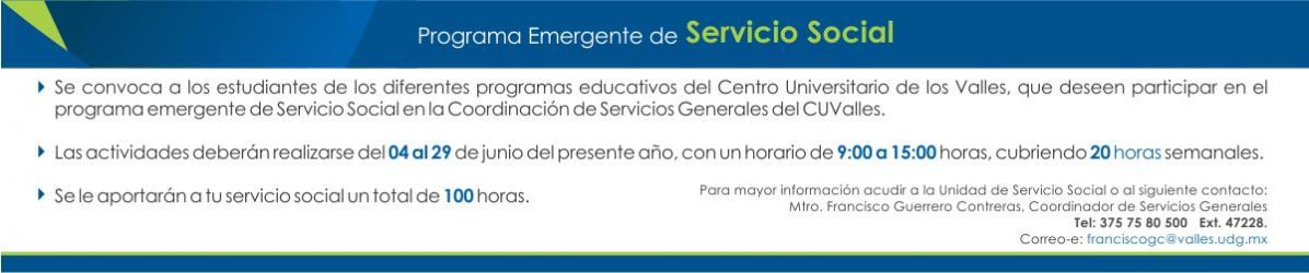 Convocatoria Programa Emergente Servicio Social Servicios Generales